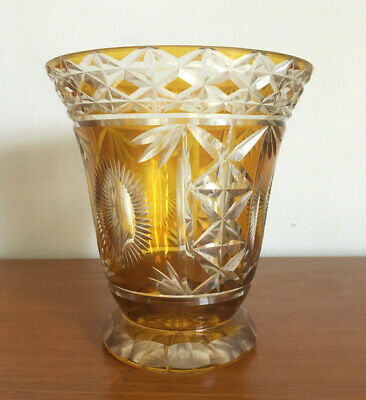 """Vtg Bohemian Amber Yellow Cut to Clear Crystal Glass Footed 6"""" Vase Sunbursts"""