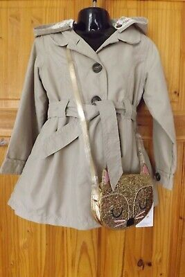 Mothercare Girls Trench Coat & M&S Glitter Cat Shoulder Bag Age 4-5 Years