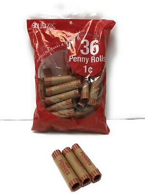 36 Rolls 1 Cent Pennies Penny Coin Wrappers Paper Tubes