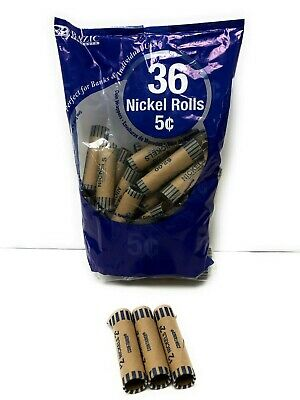 36 Rolls 5 Cent Nickles Coin Wrappers Paper Tubes