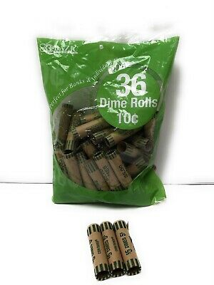 36 Rolls 10 Cent Dimes Coin Wrappers Paper Tubes