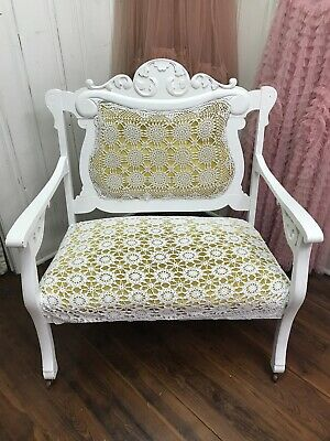 Charming Antique Shabby Chic Settee with Added Antique Crochet
