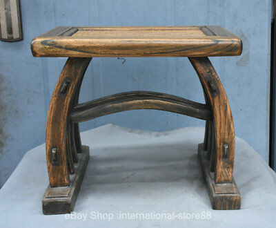 """15.2"""" Collect Ancient China Folk Huanghuali Wood Hand Carving Footstool Stool"""