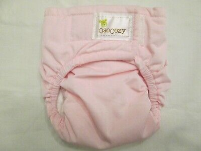 New OsoCozy All In One AIO Cloth Diaper Sz 1 Pink Bleached Cotton Hook & Loop