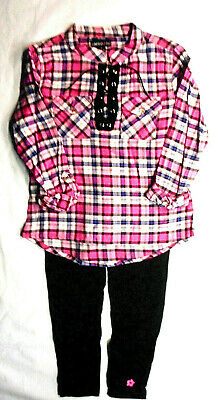 Girls Limited Too $42 Plaid Long Sleeve Top W/T Leggings 2PC. Set Sizes 7 - 12