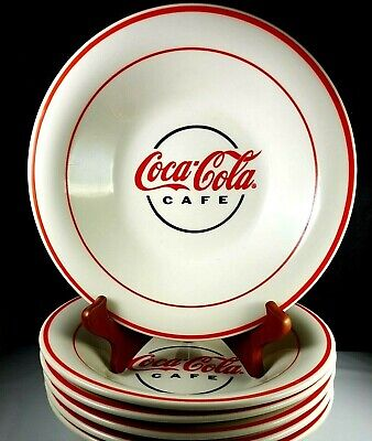 Coca Cola Cafe Logo 6 Diner Style Soup Pasta Cereal Bowls White Red Bands Coke