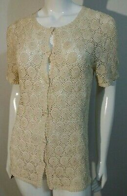 Vtg Hand Made Cotton Delicate Crochet Tunic Button Front Cardigan Sweater Large