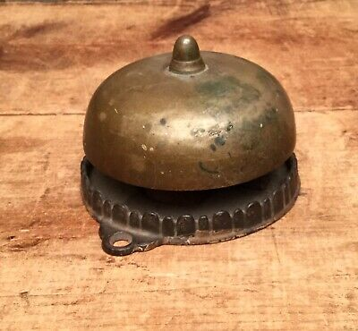 Antique 1800s Victorian Cast Iron Brass Door Bell Ringer Country Store Bus Hotel
