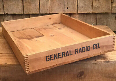 Vintage Wooden GENERAL RADIO CO. Tray Box Crate W Dove Tail Corners Home Decor