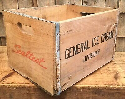 Vintage SEAL TEST ICE CREAM Division Wooden Box Crate Home Decor Dairy Farm