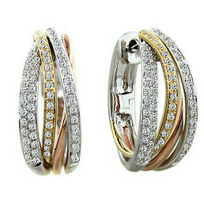 Trendy Two Tone Gold 925 Silver White Topaz Round Earring Ear Clip Women Wedding