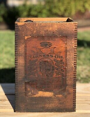 RARE Antique XL HARNESS OIL Frank Miller Co NY Can With Original Crate