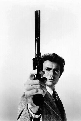 Clint Eastwood Dirty Harry Pointing Gun B&W 24X18 Poster