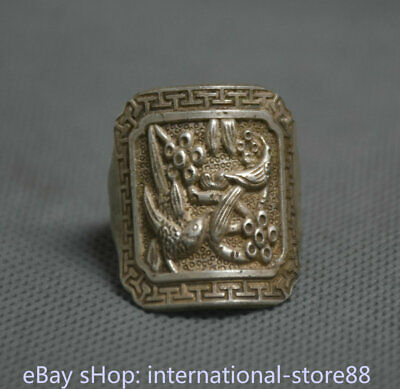 2.5CM Old Chinese Miao Silver Dynasty Palace Flower Bird Finger Rings