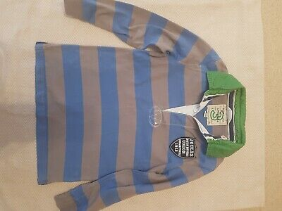 Joules Boys Striped Rugby Top Long Sleeved Striped Aged 6 Years blue grey