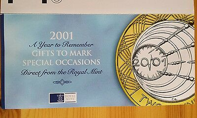 Royal Mint Commerative Coins 2001, two copies of the £5.00 Crown.