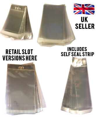 Many Sizes Clear Cello Cellophane Bags Self Seal Euro Slot Hook Cards Photos