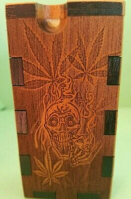 STONER SKULL. dugout  ONEHITTER . ENGRAVED,PIPE, STASH BOX,MEDICINAL CUSTOM MADE