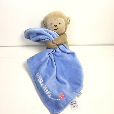 NWT Carters Child Of Mine Captain Adorable Plush Monkey Blue Security Blanket