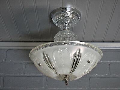 Vintage Antique Semi Flush Mount Art Deco Light Fixture Opalescent Glass Hobnail