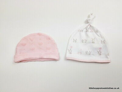 3-6 month set of 2 baby girl hats bundle pink white