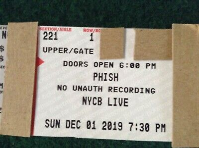 Phish Ticket - Uniondale New York - Sunday December 1st Row Upper - Page Side