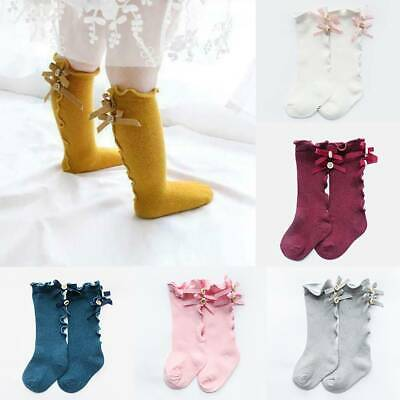 Baby Girls Sock Knee High Bows Cotton Kid Princess Infant Toddler Warmer Socks
