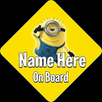 Personalised Baby On Board Car Sign ~Minion New! Yellow