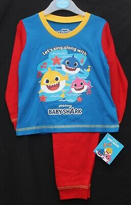 BABY SHARK Pyjamas / Official Boy's Red & Blue PJs Sizes 12-18/18-24/2-3/3-4