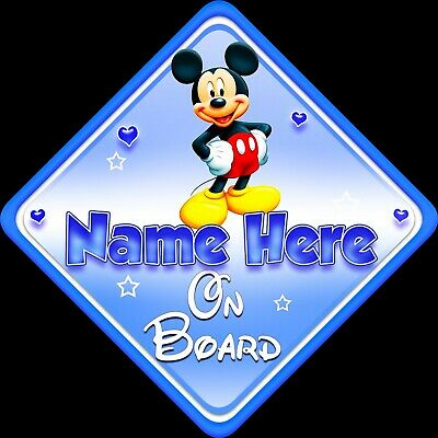 Personalised Baby On Board Car Sign Blue Glassy Effect Mickey