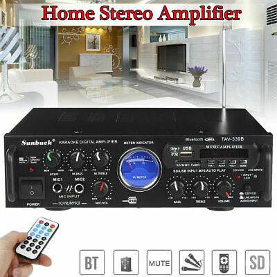 500W 110V Bluetooth Power HiFi Stereo Amplifier Home Karaoke VU Meter FM USB US