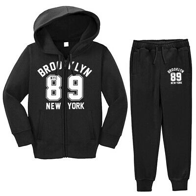 Boys Girls Tracksuit Brooklyn 89 New York Hoodie And Bottom Jogging Suit 7-13