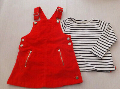 Jasper Conran Girls Gorgeous Red Dungaree Skirt And Top Mint Condition Age 2-3