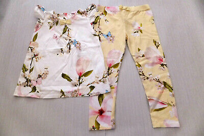Ted Baker  Girls Yellow Orchad Print Top and Leggings Set New Condition Age 3-4