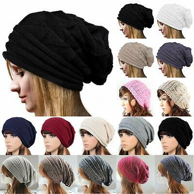 Ladies Mens Unisex Warm Winter Knitted Beanie Hat Cap Stretch Head Wool Slouch