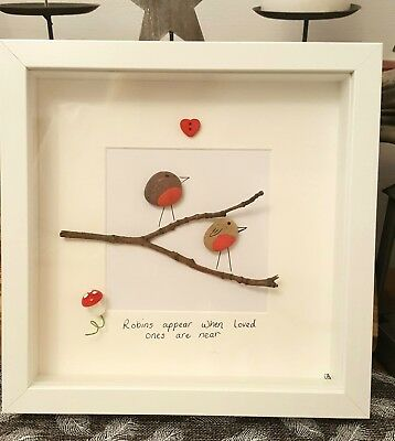 Two Robins hand crafted pebble art picture. 23cm box frame.