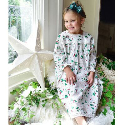 Powell Craft Girls Christmas Nightdress. 100% Cotton. 2-9 Years. bnwt