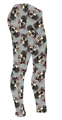 Kids / Girls Cute Sir Cedric Earl Of Woofshire Pug Dog Leggings Size 5 -10 Years