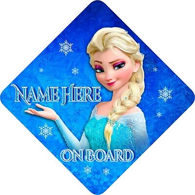 Personalised Baby/Child On Board Car Sign Frozen Ice Blue