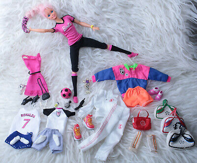 Made to Move Barbie Doll Hybrid Vintage Football Accessories Bundle