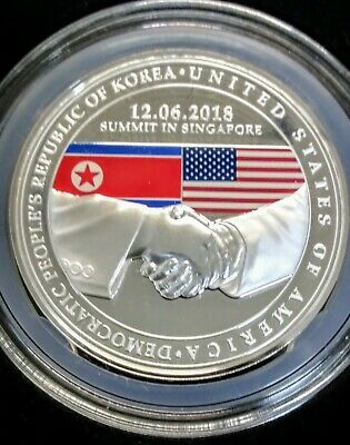 2018 Singapore United States Korea Summit 1 oz Silver Proof Medal