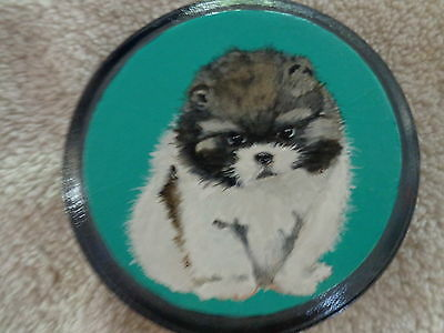 "Orig. Acrylic (roughly) 4""x4""  round SFA acrylic painting Shih Tzu puppy"