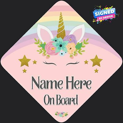 Personalised Baby/Child On Board Car Sign Rainbow Unicorn Pink Floral