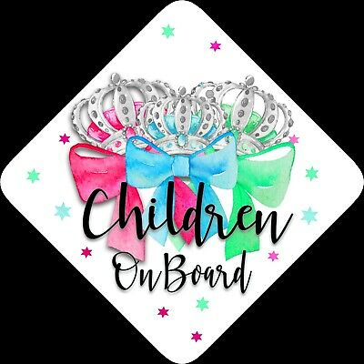 Non Personalised Child/Baby On Board Car Sign~Children Bows 3 colours