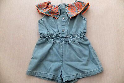 River Island Girls Soft Denim Playsuit Newly Used Cond Size 2-3yrs