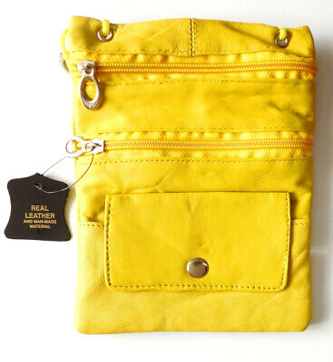 Luxury soft Leather Neck wallet pouch passport travel documents yellow black tan