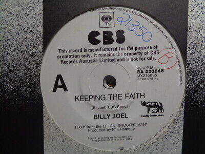 "Billy Joel ""Keeping The Faith"" 1983 CBS PROMO Oz 7"" 45rpm"