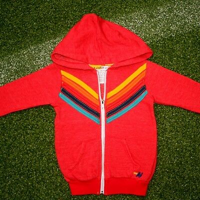 Aviator Nation Kids Rainbow Chevron Zip Hoodie -  Red  sz 2 (last one)