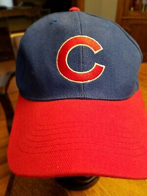 Baseball Cap Hat Chicago Cubs Blue Red C Heilemans Old Style Beer