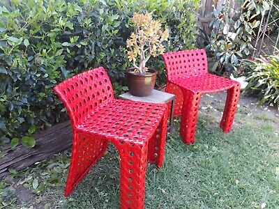 Pair Retro Vintage Bamboo Cane Indoor / Outdoor Chairs,  Industrial Modern